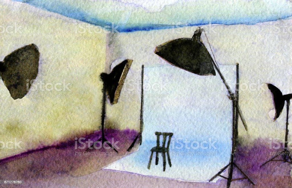 watercolor sketch of empty photo studio with lighting equipment vector art illustration
