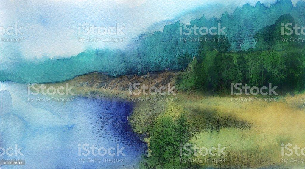 watercolor sketch: summer landscape vector art illustration