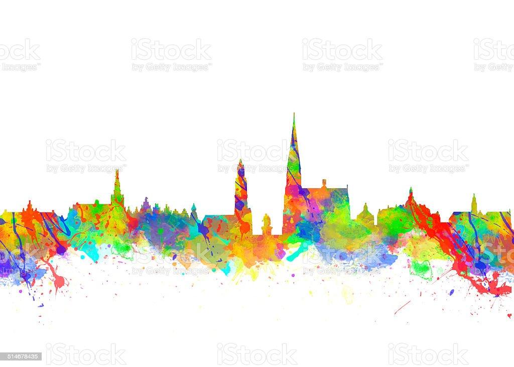 Watercolor skyline of Antwerp in Belgium vector art illustration