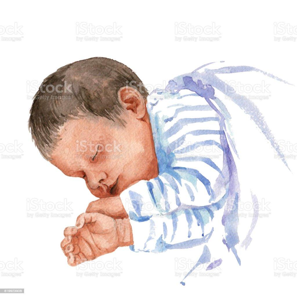 watercolor sleeping baby vector art illustration