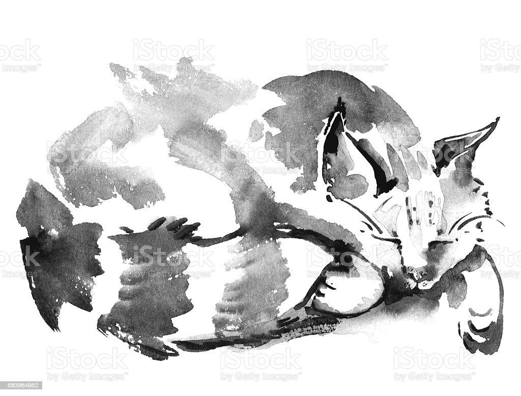 Watercolor sleeping cat vector art illustration