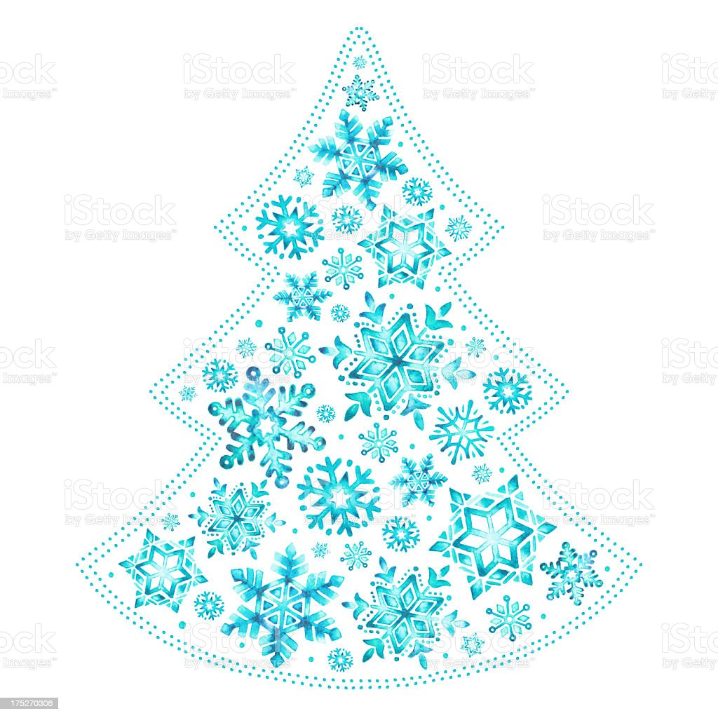 Watercolor snowflakes Christmas tree royalty-free stock vector art