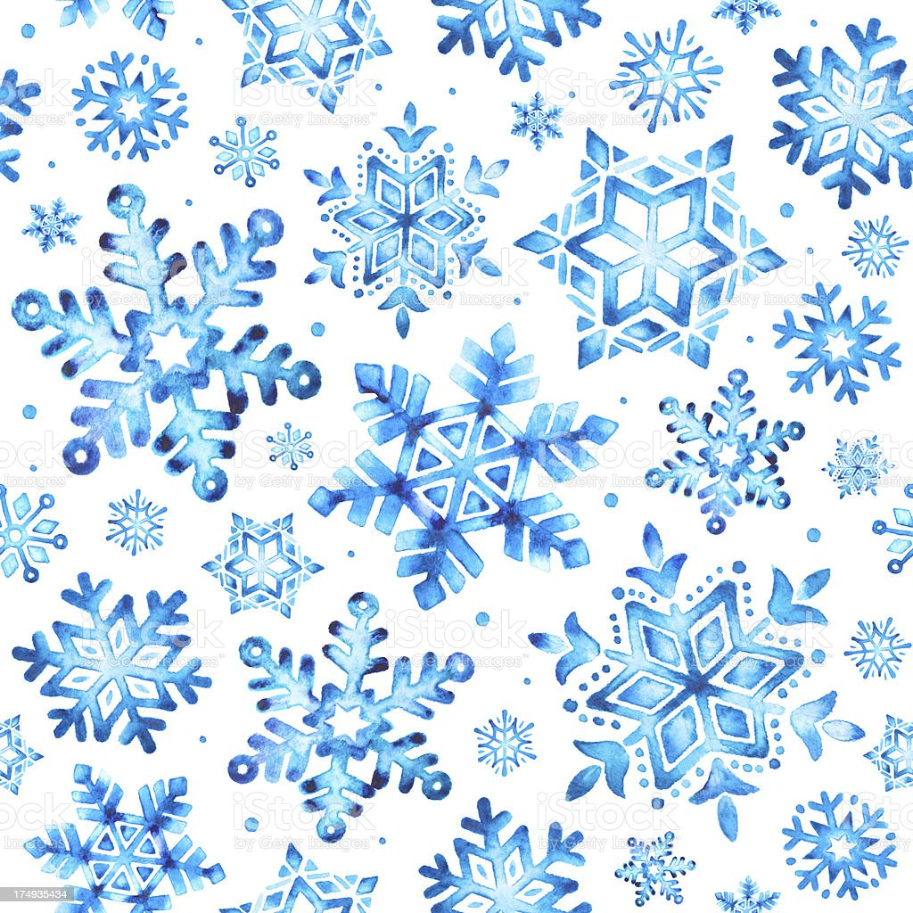 Watercolor snowflakes seamless pattern royalty-free stock vector art
