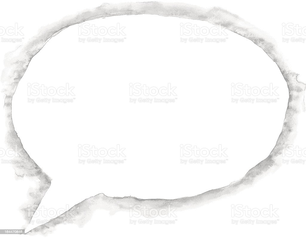 Watercolor speech bubble white color with gray drop shadow royalty-free stock vector art