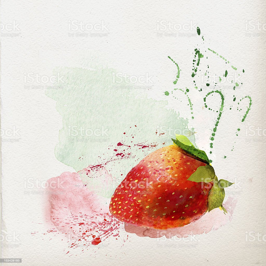 Watercolor strawberry royalty-free stock vector art