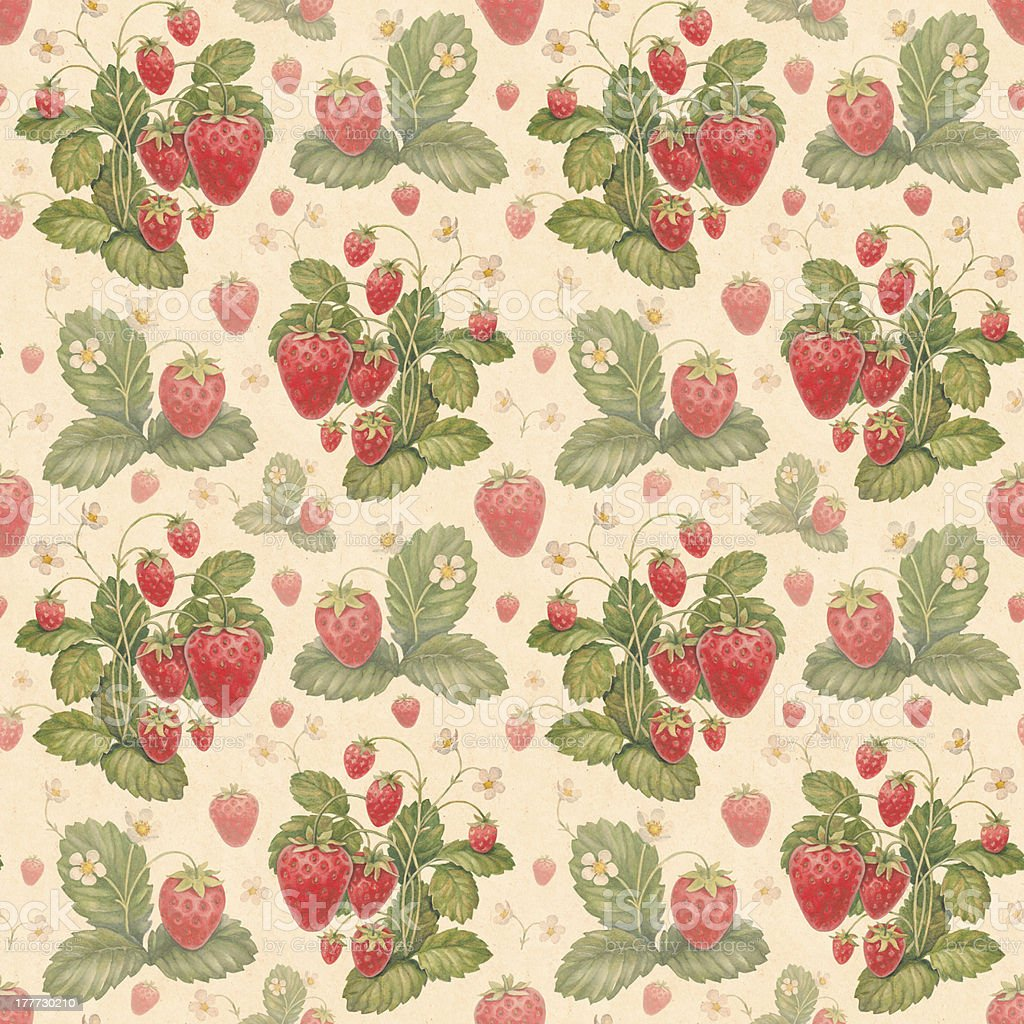 Watercolor strawberry pattern royalty-free stock vector art