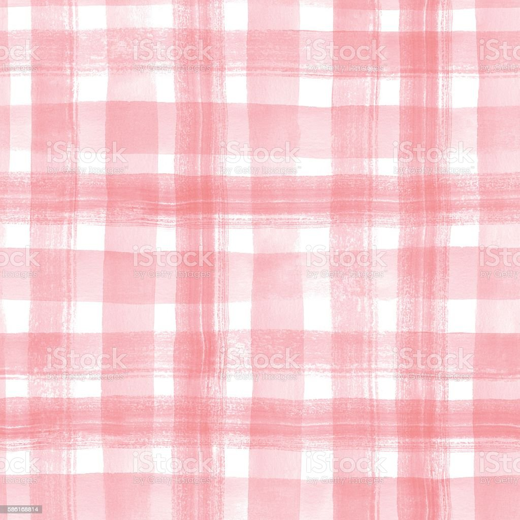 Watercolor stripes. Checkered seamless pattern 4 vector art illustration