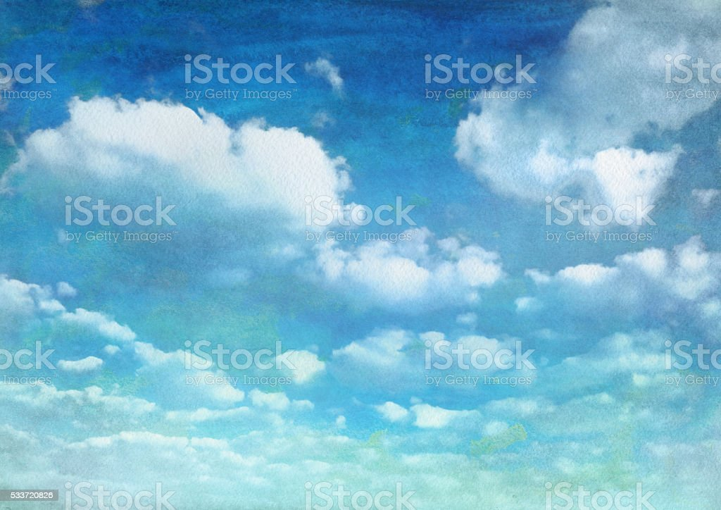 watercolor summer blue sky with clouds vector art illustration