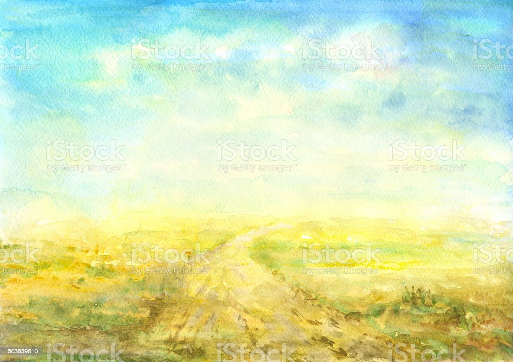 watercolor summer landscape vector art illustration