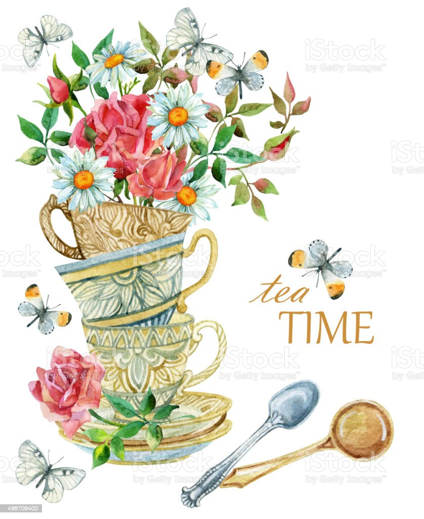 Watercolor tea cups background with spoon, flowers and butterfly. vector art illustration