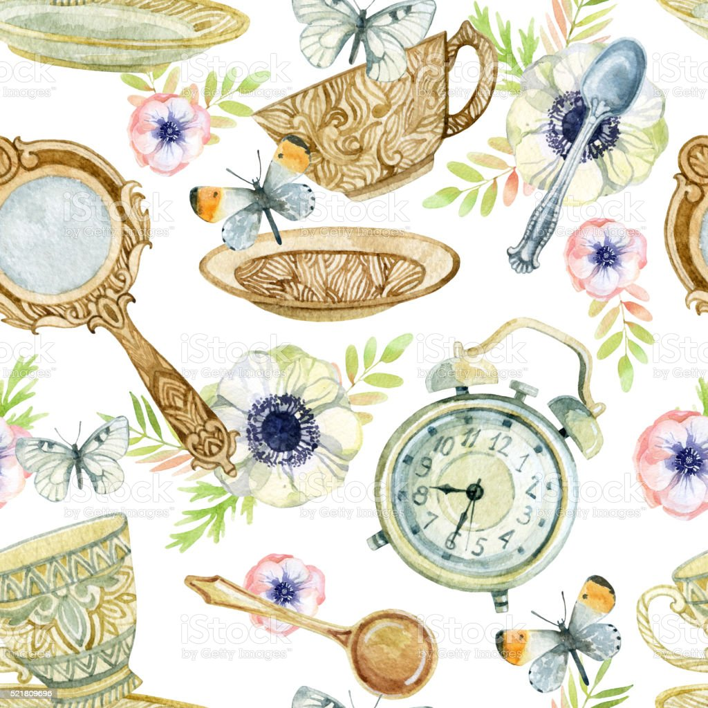 Watercolor tea seamless pattern vector art illustration
