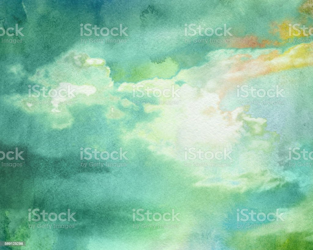 watercolor thundercloud vector art illustration