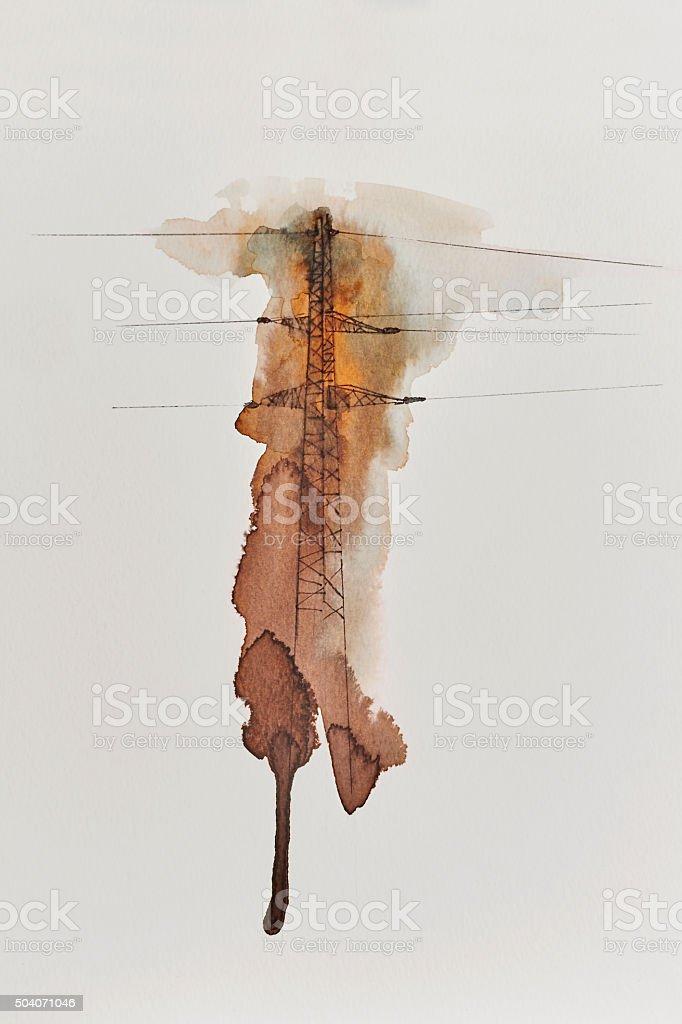 Watercolor Transmission Tower vector art illustration