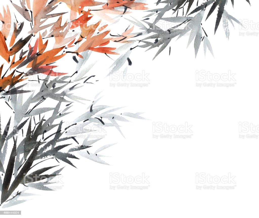 Watercolor tree branches stock photo
