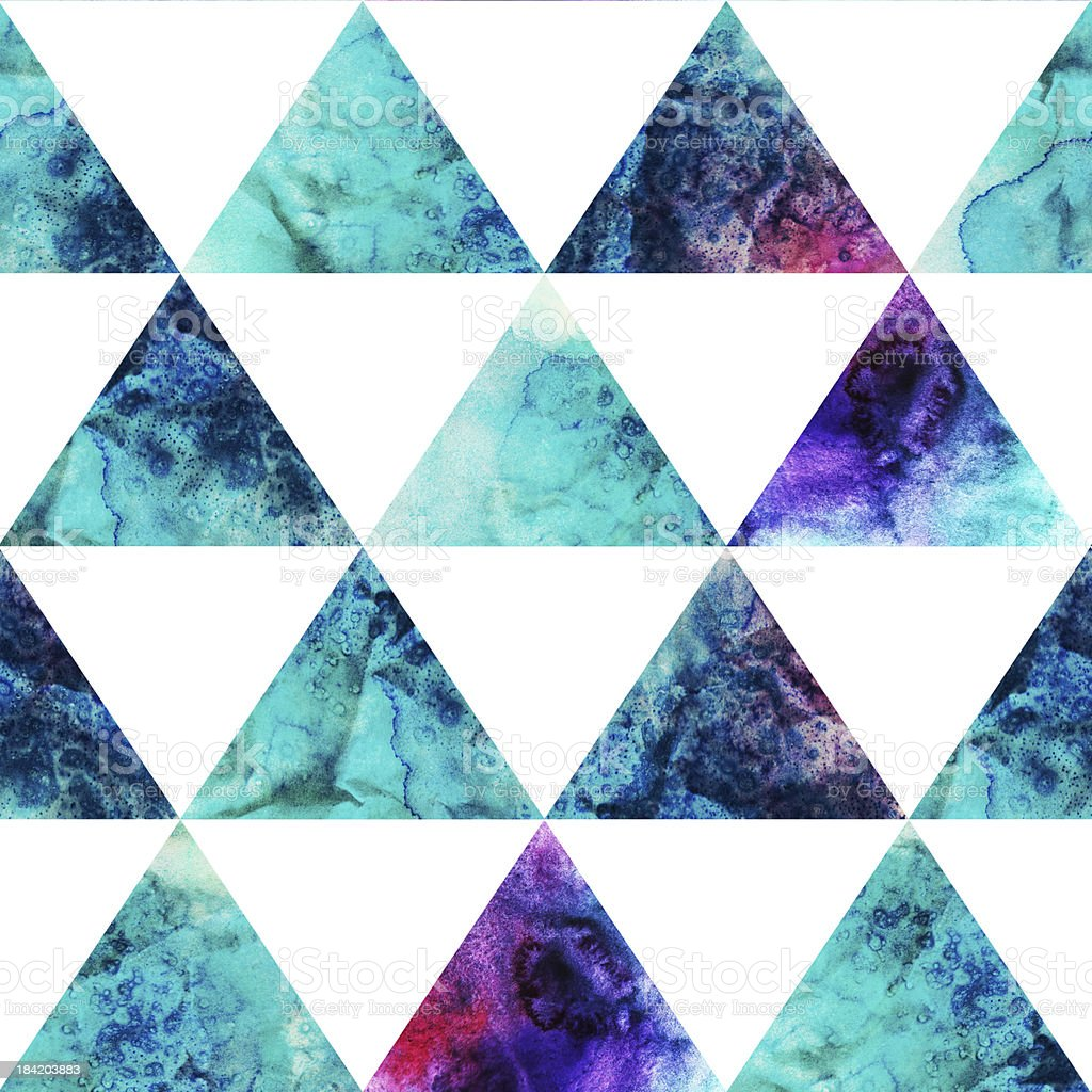 Watercolor triangles seamless pattern. Modern geometry royalty-free stock vector art