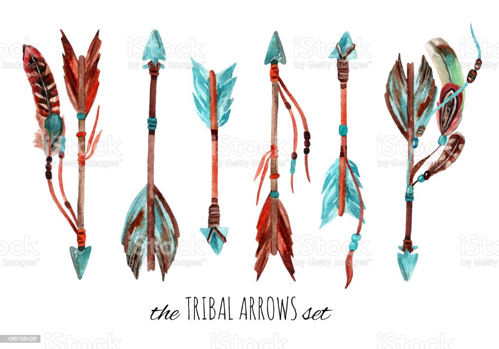 Watercolor tribal arrows. vector art illustration