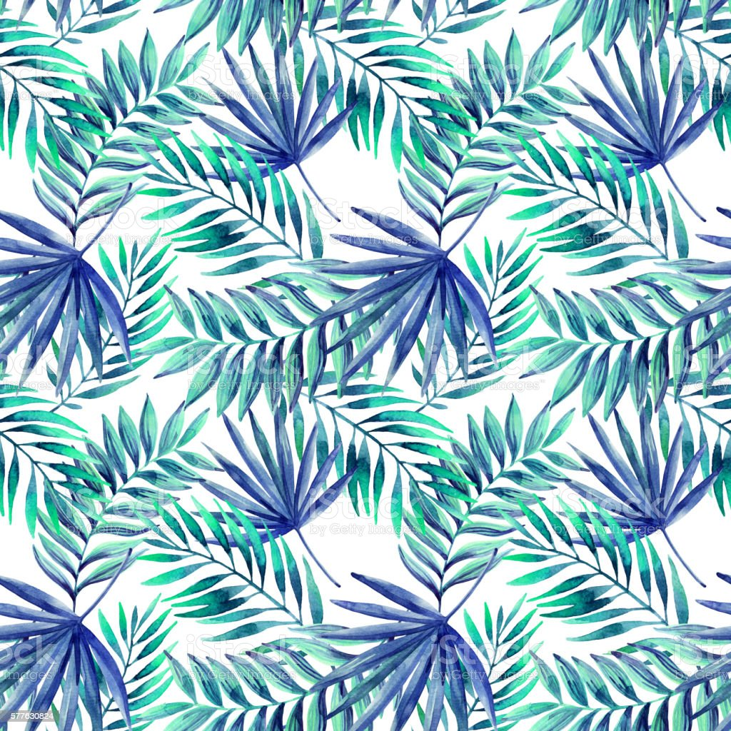 Watercolor tropical leaves seamless pattern vector art illustration