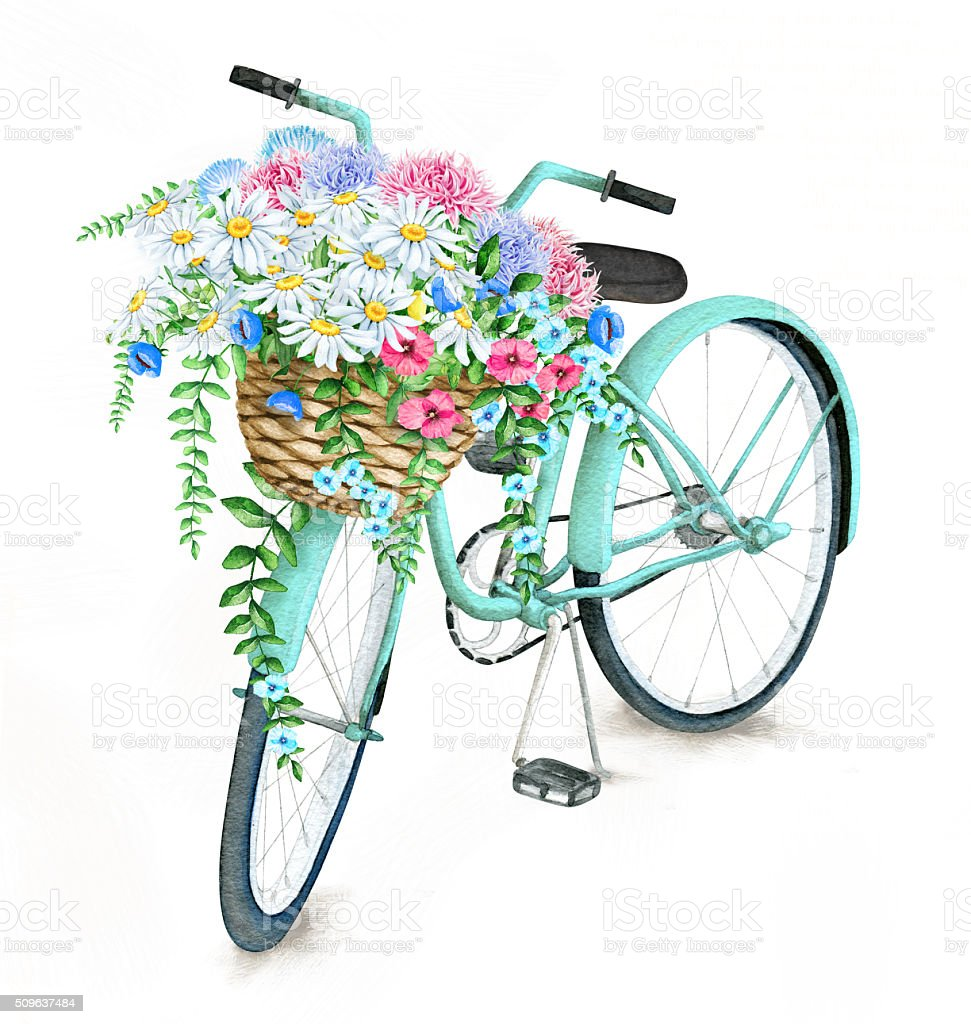 Watercolor Turquoise Bicycle With Beautiful Flower Basket vector art illustration