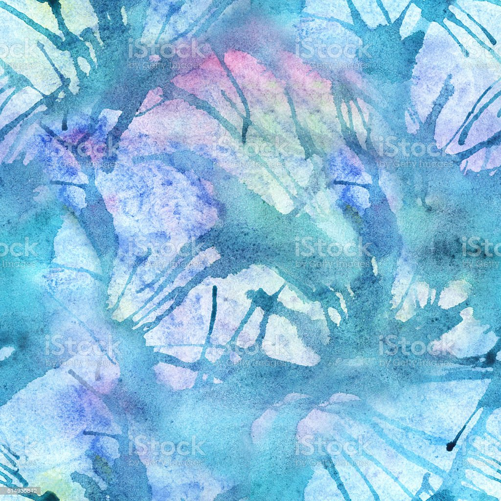 Watercolor turquoise cyan abstract seamless pattern texture background vector art illustration