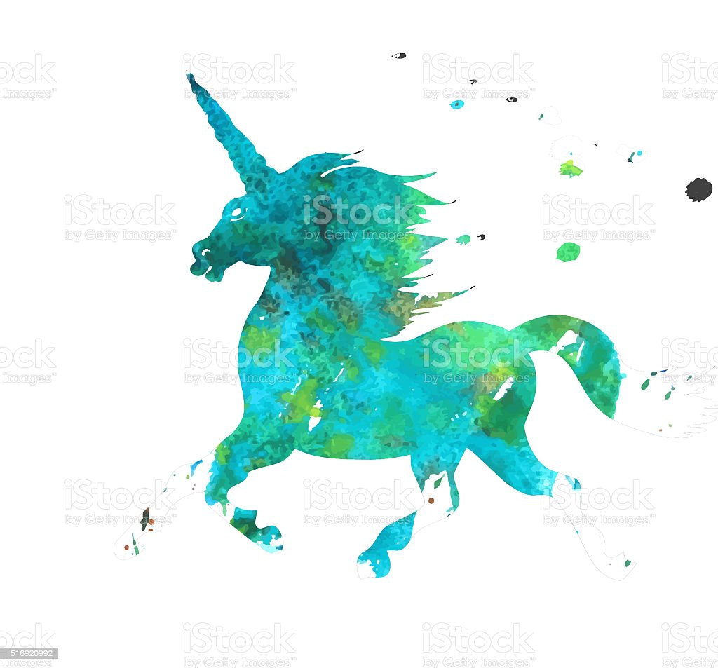 Watercolor Unicorn Logo stock photo