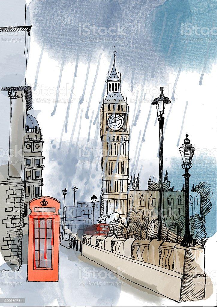 Watercolor vector London landmark vector art illustration