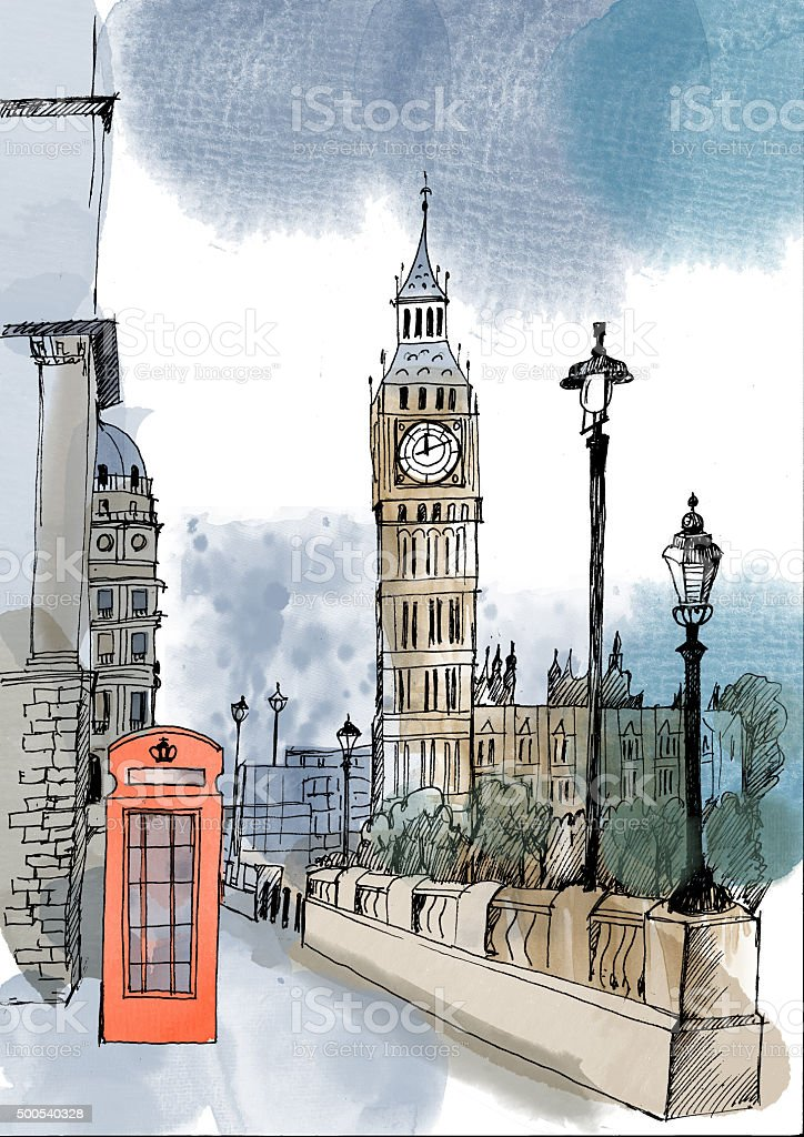 Watercolor vector London landmark vector art illustration