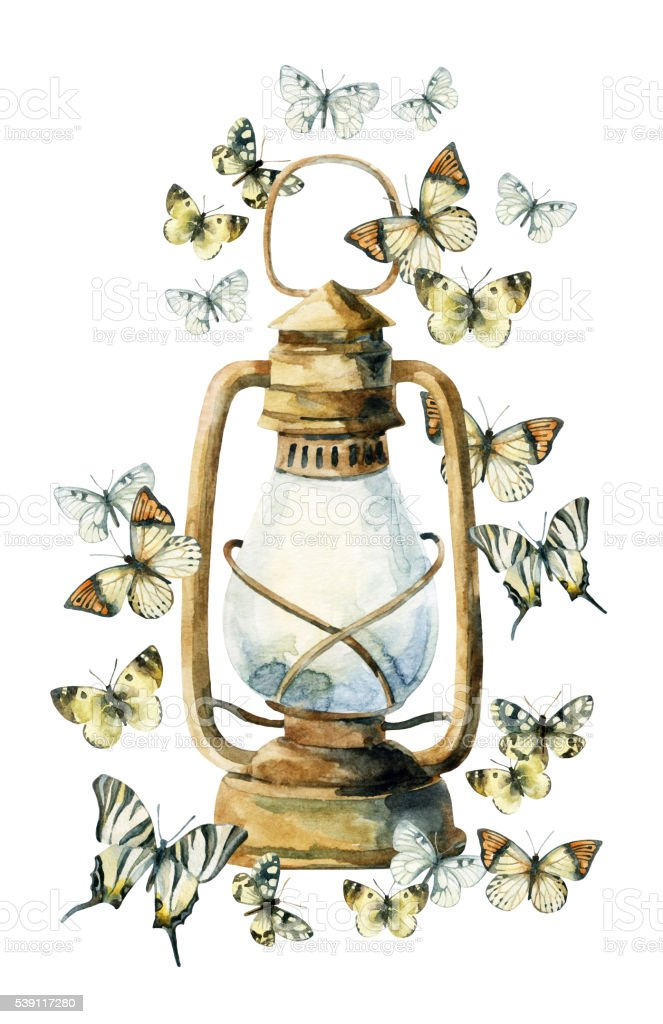Watercolor vintage lamp with butterfly vector art illustration