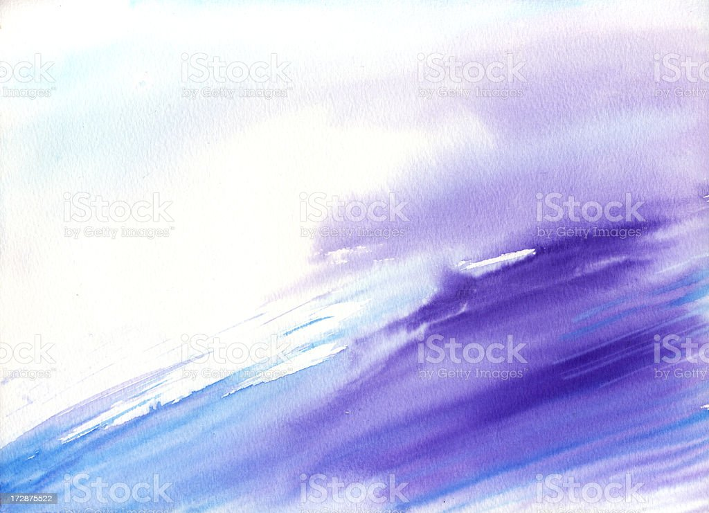 Watercolor wave with purple and blue vector art illustration