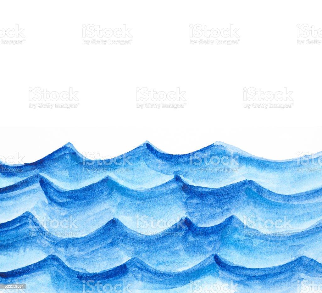 Watercolor Waves vector art illustration