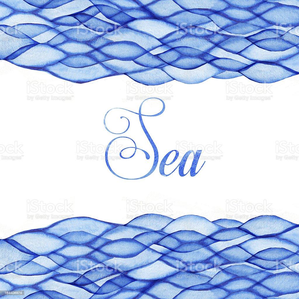 Watercolor waves, sea theme, blue maritime frame royalty-free stock vector art