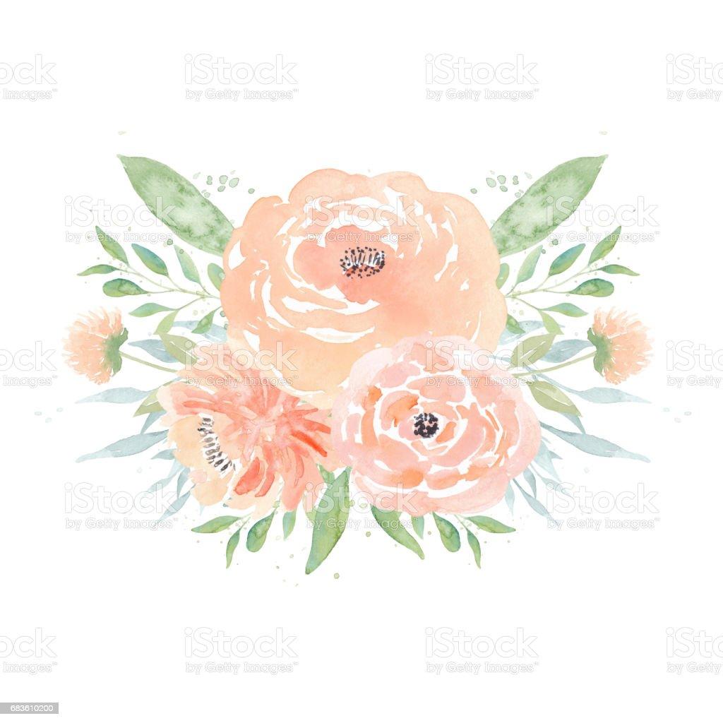 Peony Flower Arrangement Watercolor Wedding Flowers Watercolor Peonies And Leaves