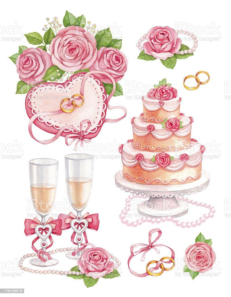 Watercolor wedding illustrations royalty-free stock vector art