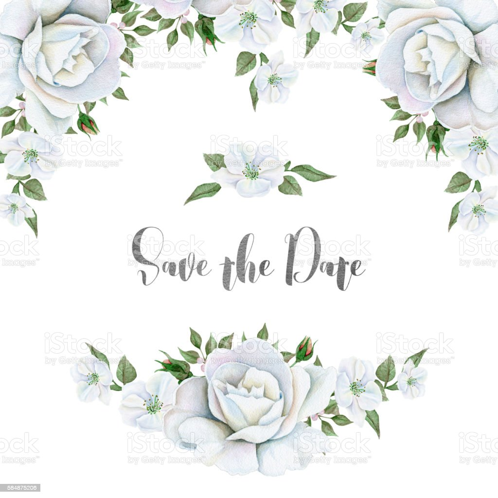 Watercolor White Flowers Bouquets And Border Stock Vector