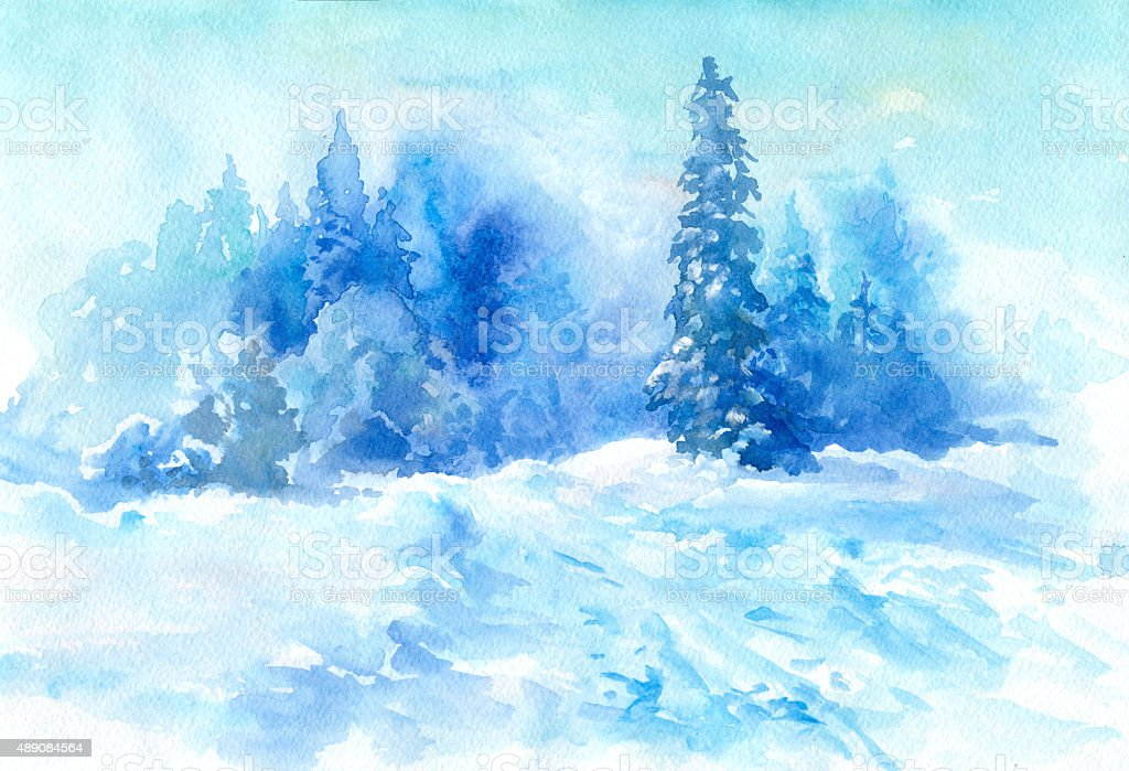 Watercolor winter vector art illustration