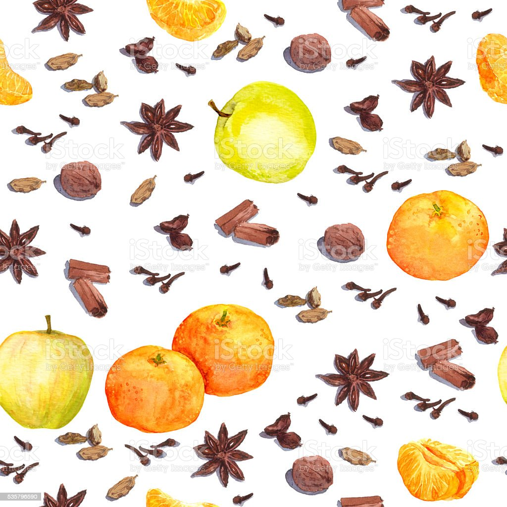 Watercolor winter spices and fruits - apple, mandarin. Repeating pattern vector art illustration