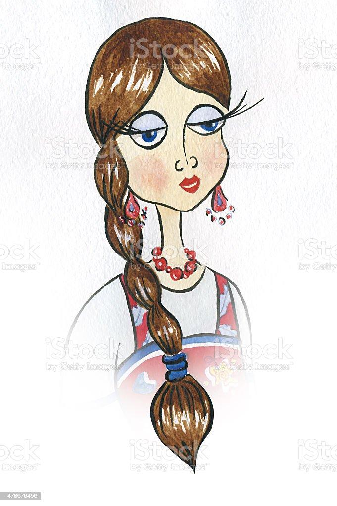 Watercolor women portrait vector art illustration
