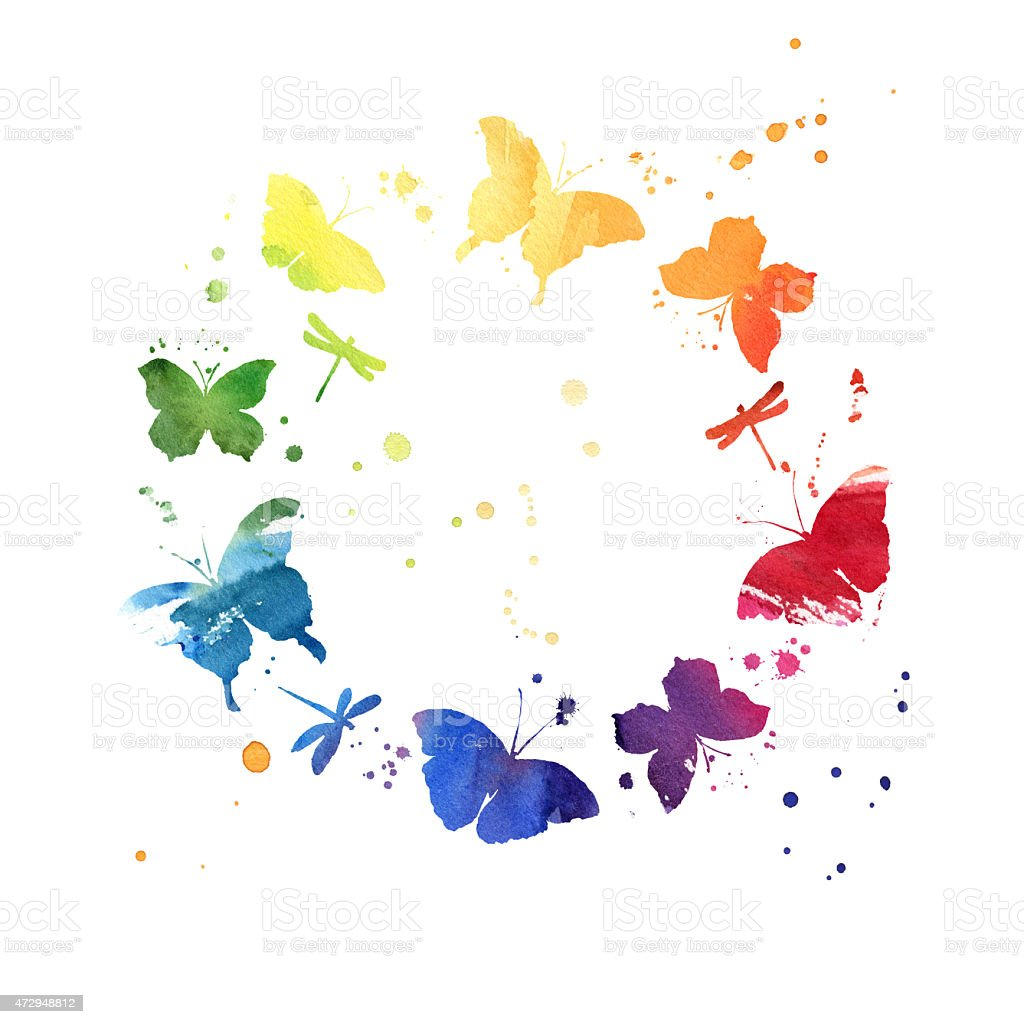 Watercolor wreath with colorful rainbow butterflies vector art illustration