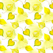 Watercolor yellow autumn leaves. Repeated pattern.