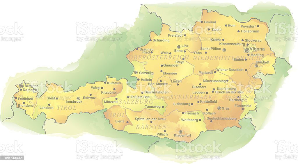 Watercolor-style Vector Map of Austria royalty-free stock vector art