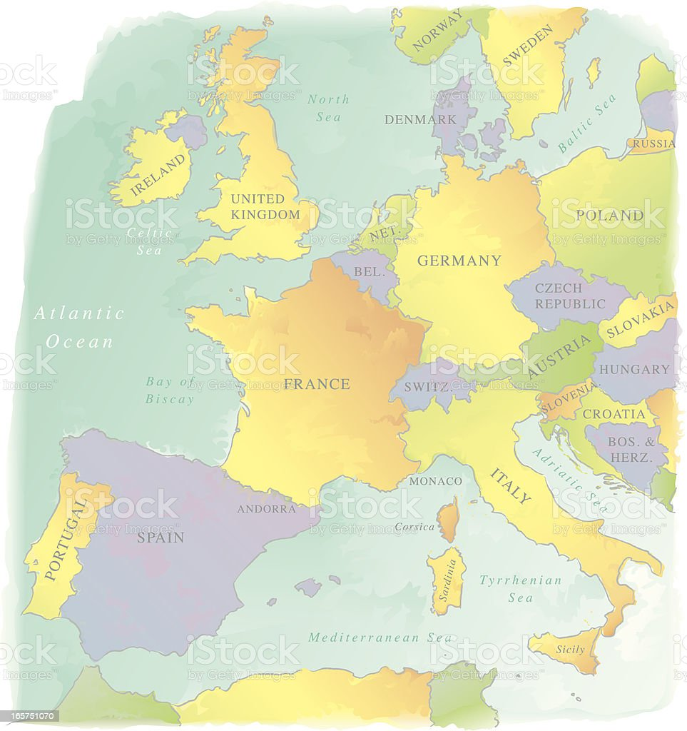 Watercolor-Style Vector Map of Western Europe royalty-free stock vector art