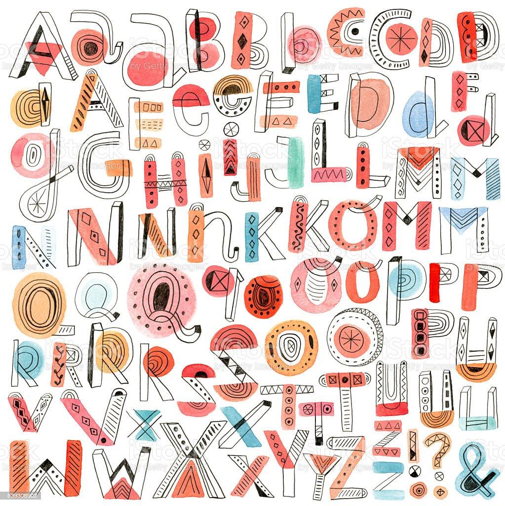 Watercolour and pencil doodle alphabet vector art illustration
