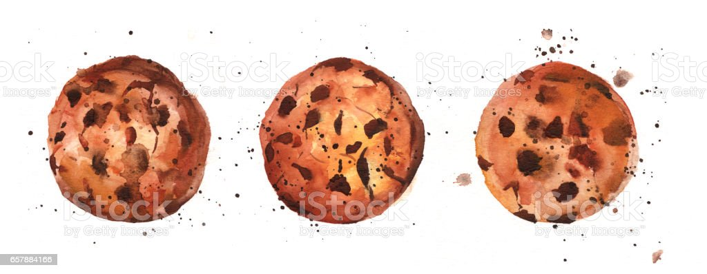 Watercolour chocolate chips cookies with splashes of paint vector art illustration