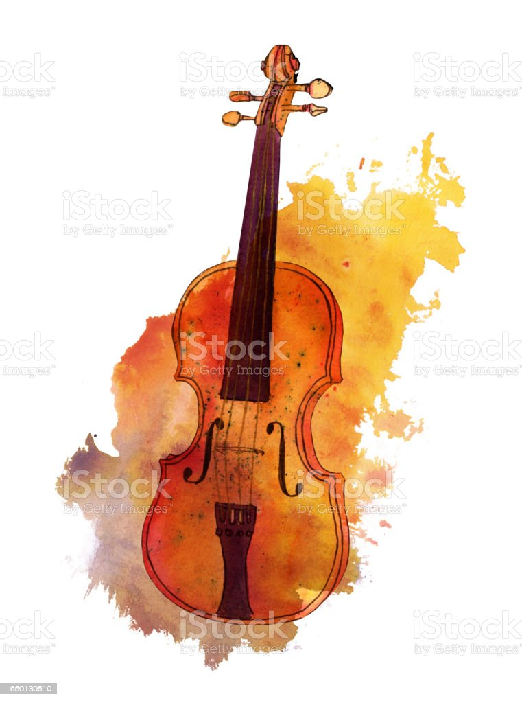 Watercolour drawing of violin on texture stain with copyspace vector art illustration