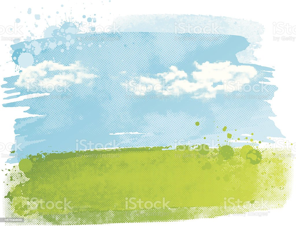 Watercolour field vector art illustration