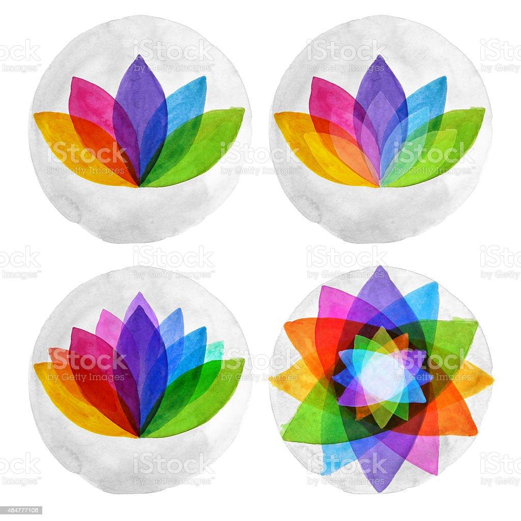 Watercolour lotus mandalas vector art illustration