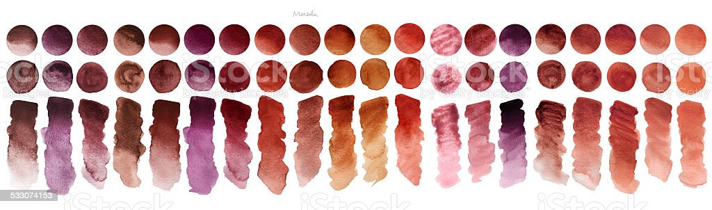 Watercolour samples: sienna, indian red, marsala, terracota vector art illustration