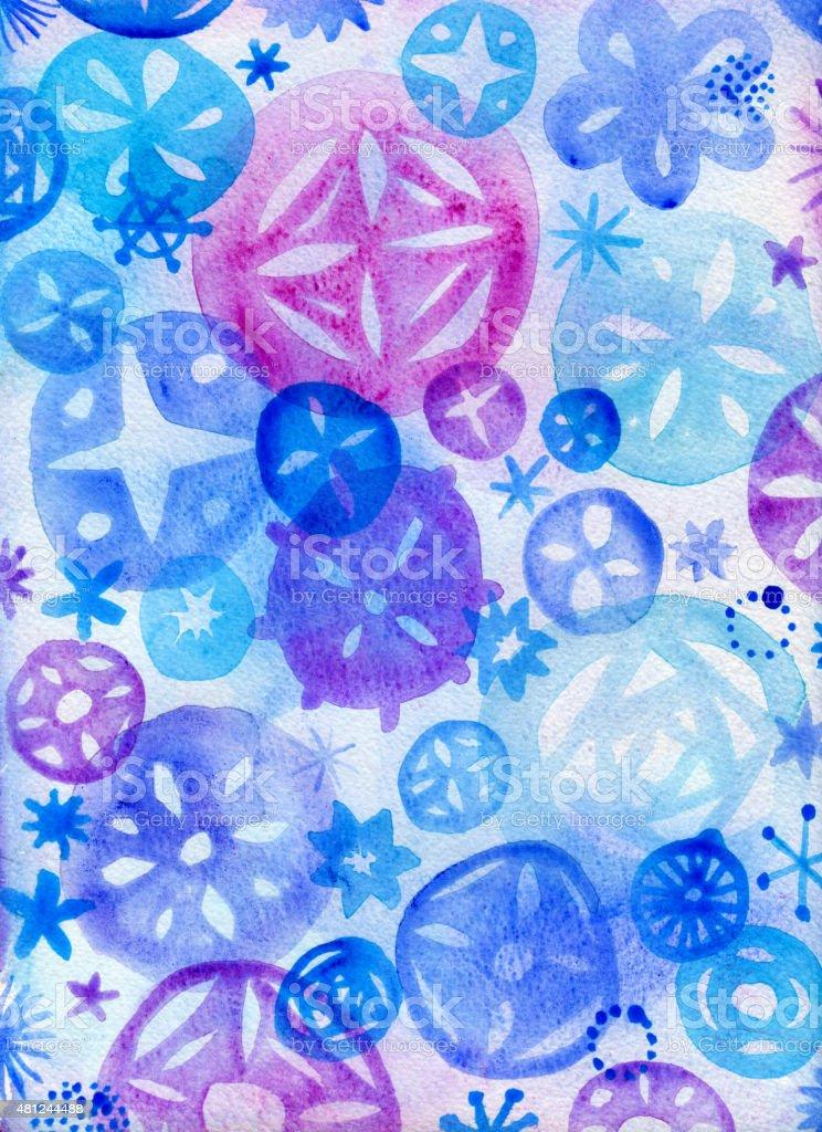 Watercolour snowflakes background vector art illustration