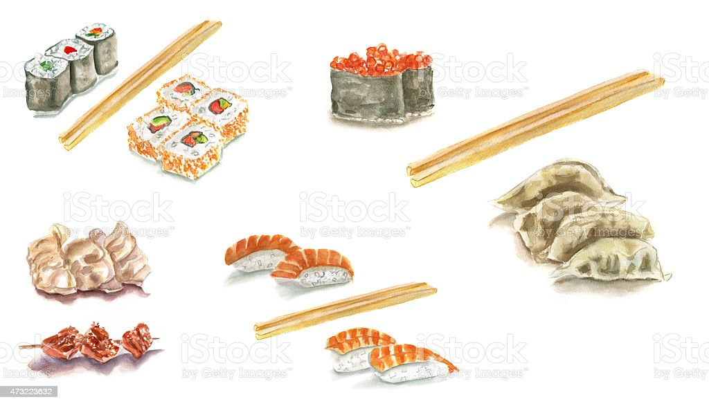 Watercolour sushi set on white background with chopsticks (isolated) vector art illustration