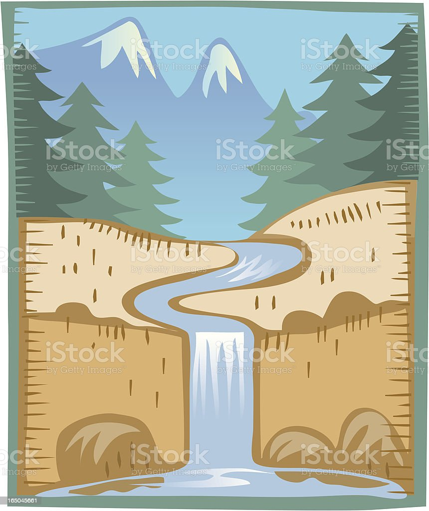 Waterfall with mountains vector art illustration