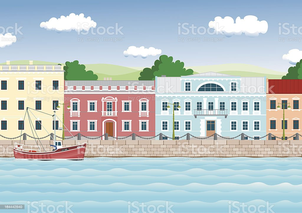 waterfront in the old town royalty-free stock vector art